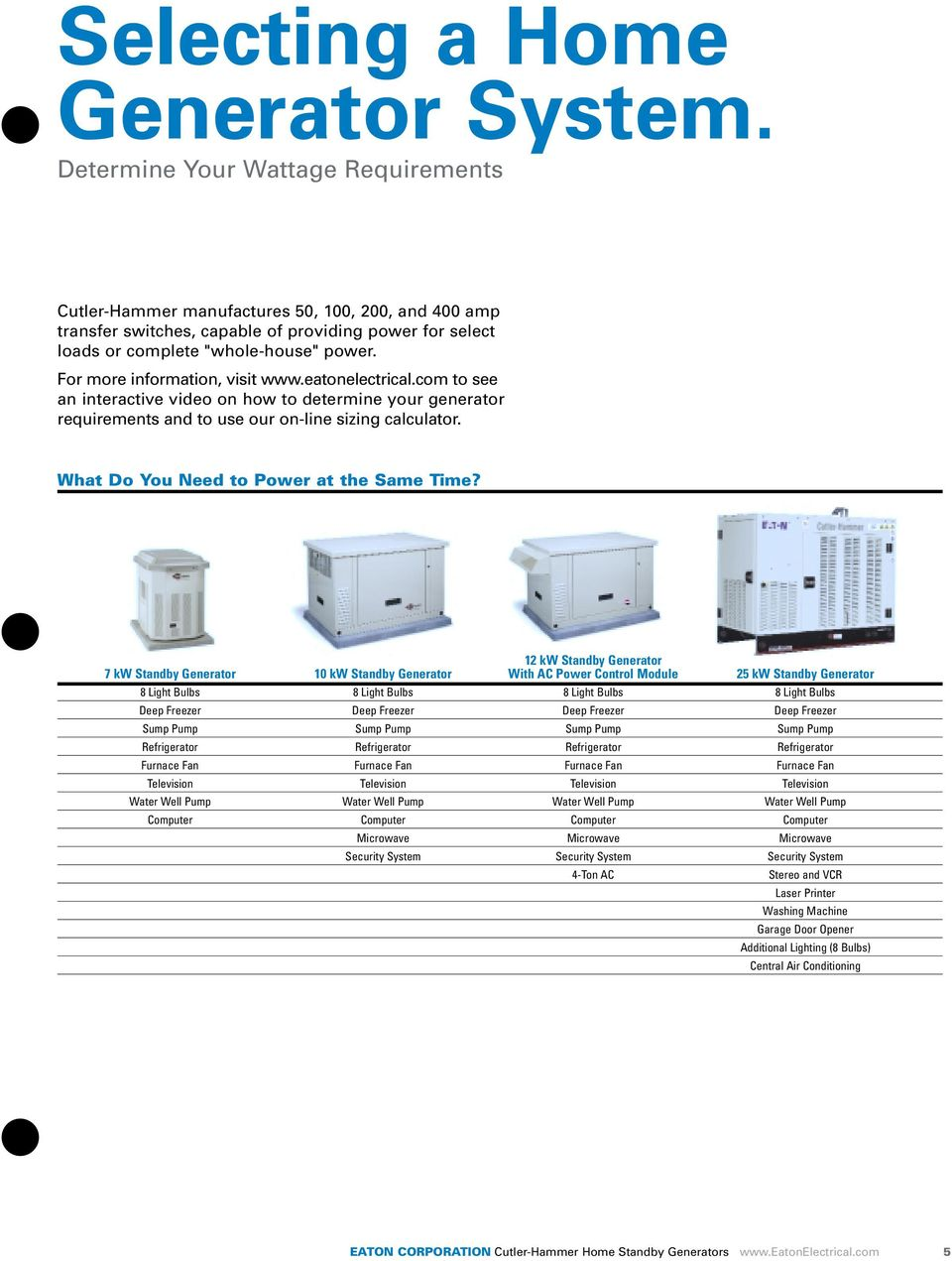 For more information, visit www.eatonelectrical.com to see an interactive video on how to determine your generator requirements and to use our on-line sizing calculator.