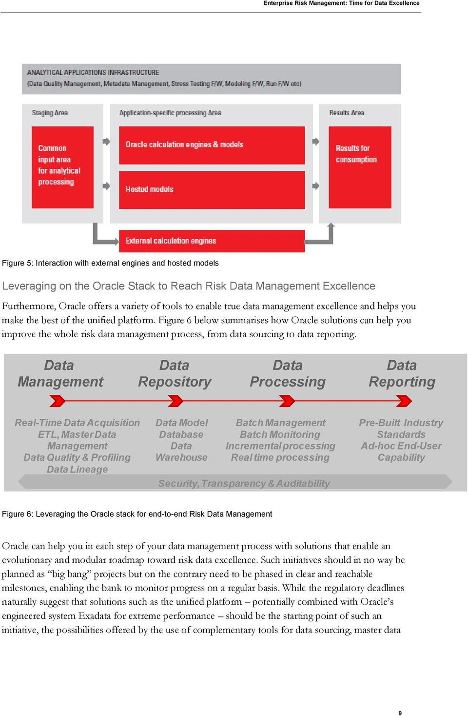 Figure 6 below summarises how Oracle solutions can help you improve the whole risk data management process, from data sourcing to data reporting.