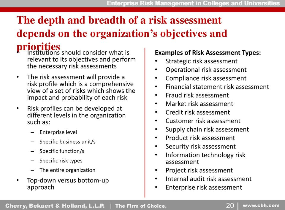 different levels in the organization such as: Enterprise level Specific business unit/s Specific function/s Specific risk types The entire organization Top-down versus bottom-up approach Examples of