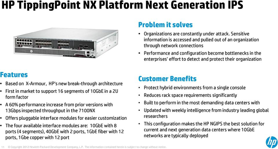 organization Features Based on X-Armour, HP s new break-through architecture First in market to support 16 segments of 10GbE in a 2U form factor A 60% performance increase from prior versions with