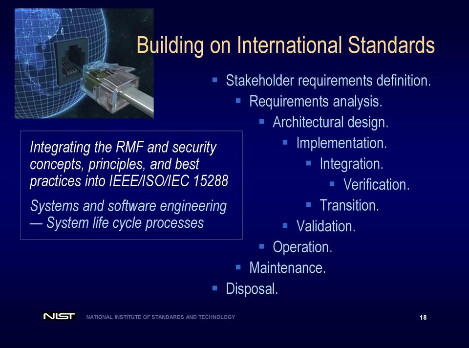 requirements definition. Requirements analysis. Architectural design. Implementation. Integration.