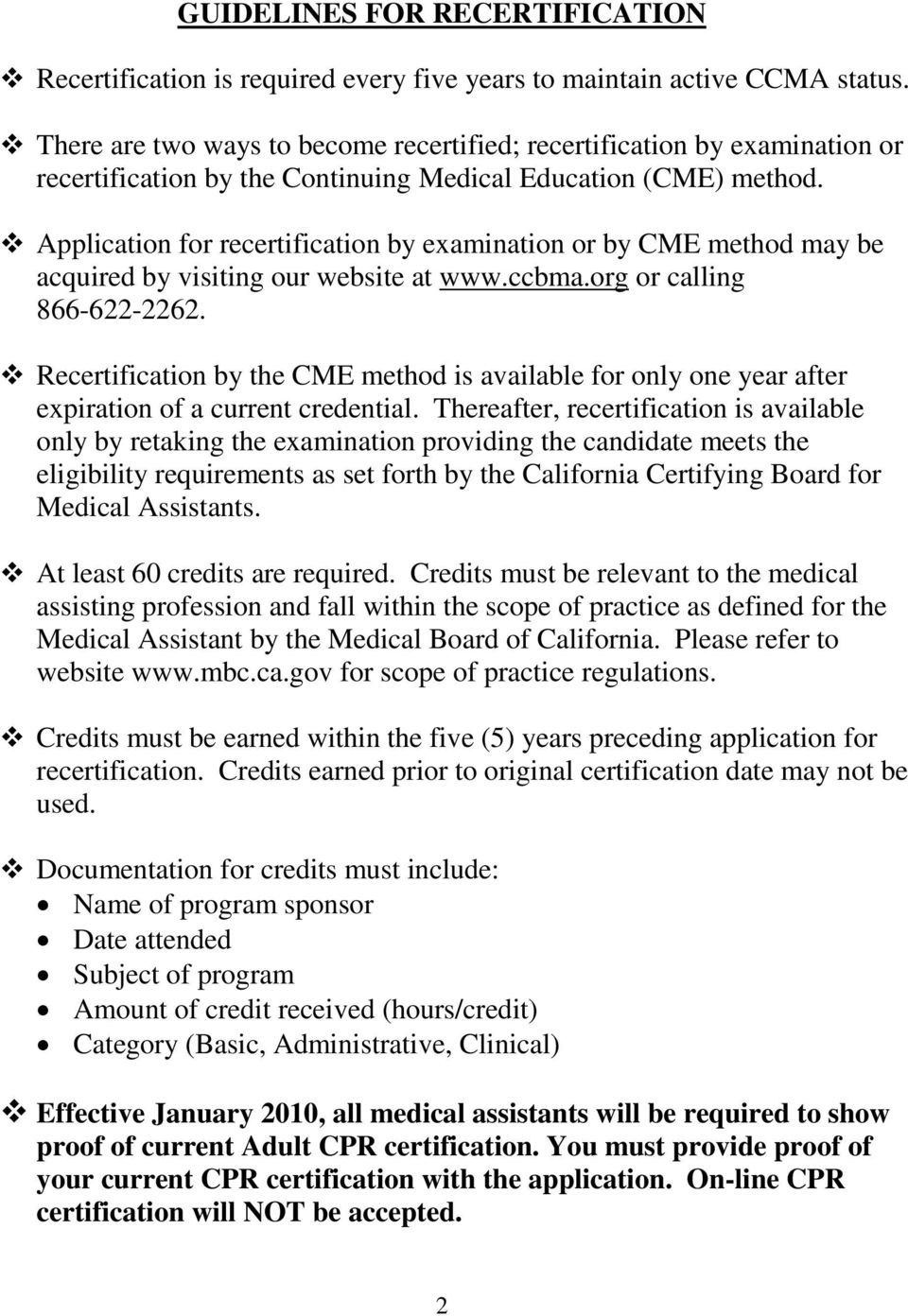 California Certifying Board For Medical Assistants Recertification