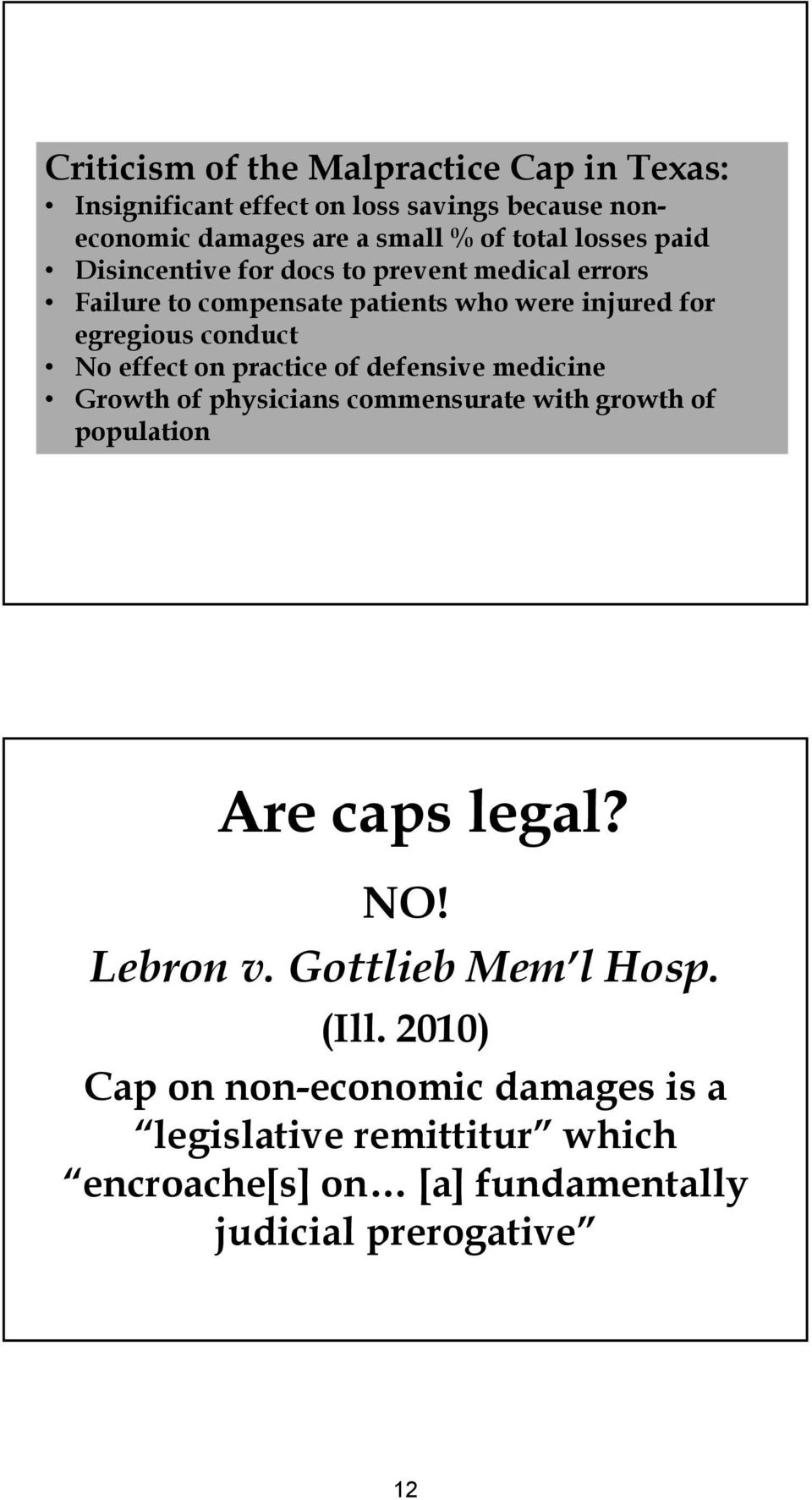 effect on practice of defensive medicine Growth of physicians commensurate with growth of population Are caps legal? NO! Lebron v.