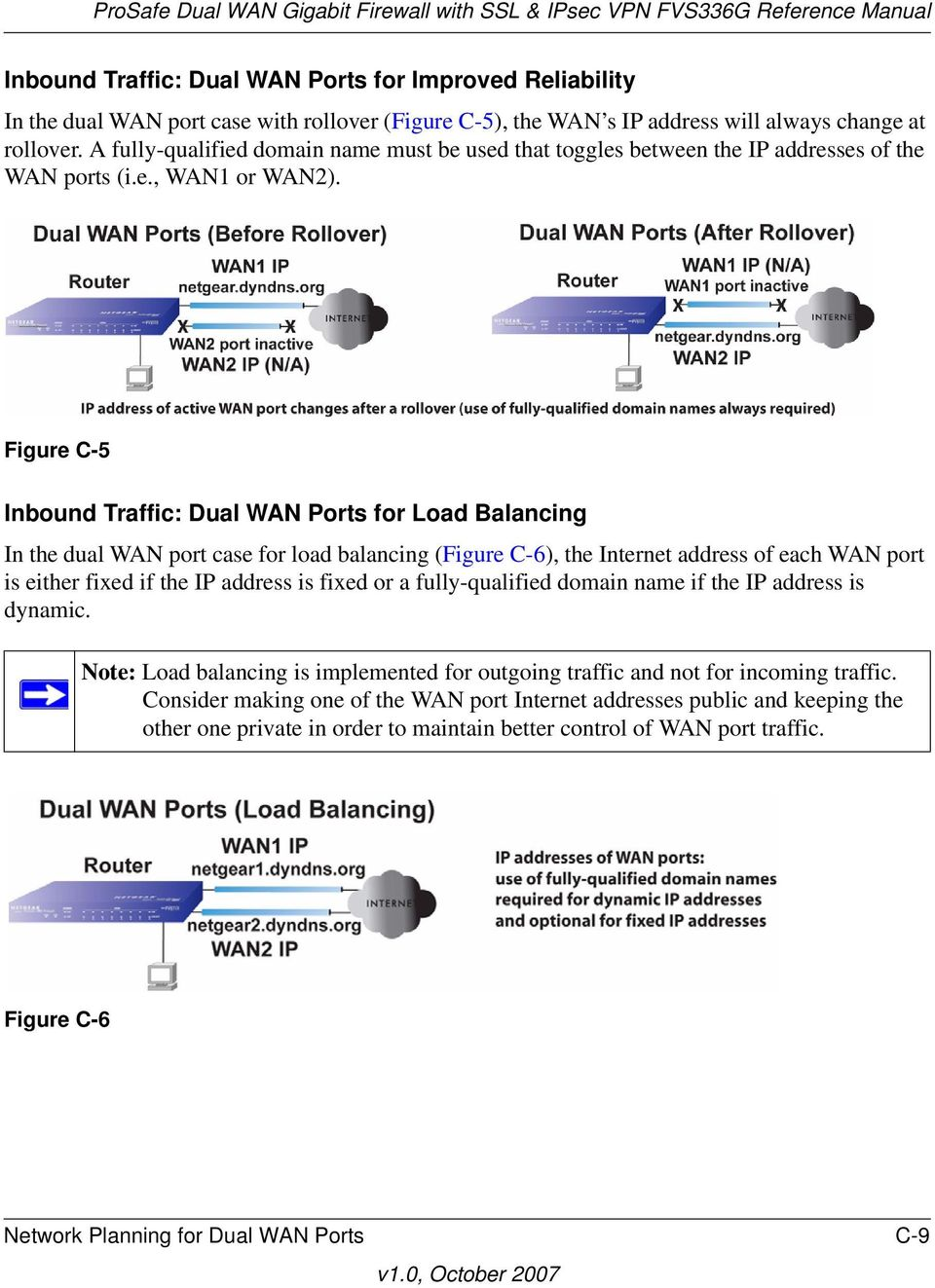Figure C-5 Inbound Traffic: Dual WAN Ports for Load Balancing In the dual WAN port case for load balancing (Figure C-6), the Internet address of each WAN port is either fixed if the IP address is