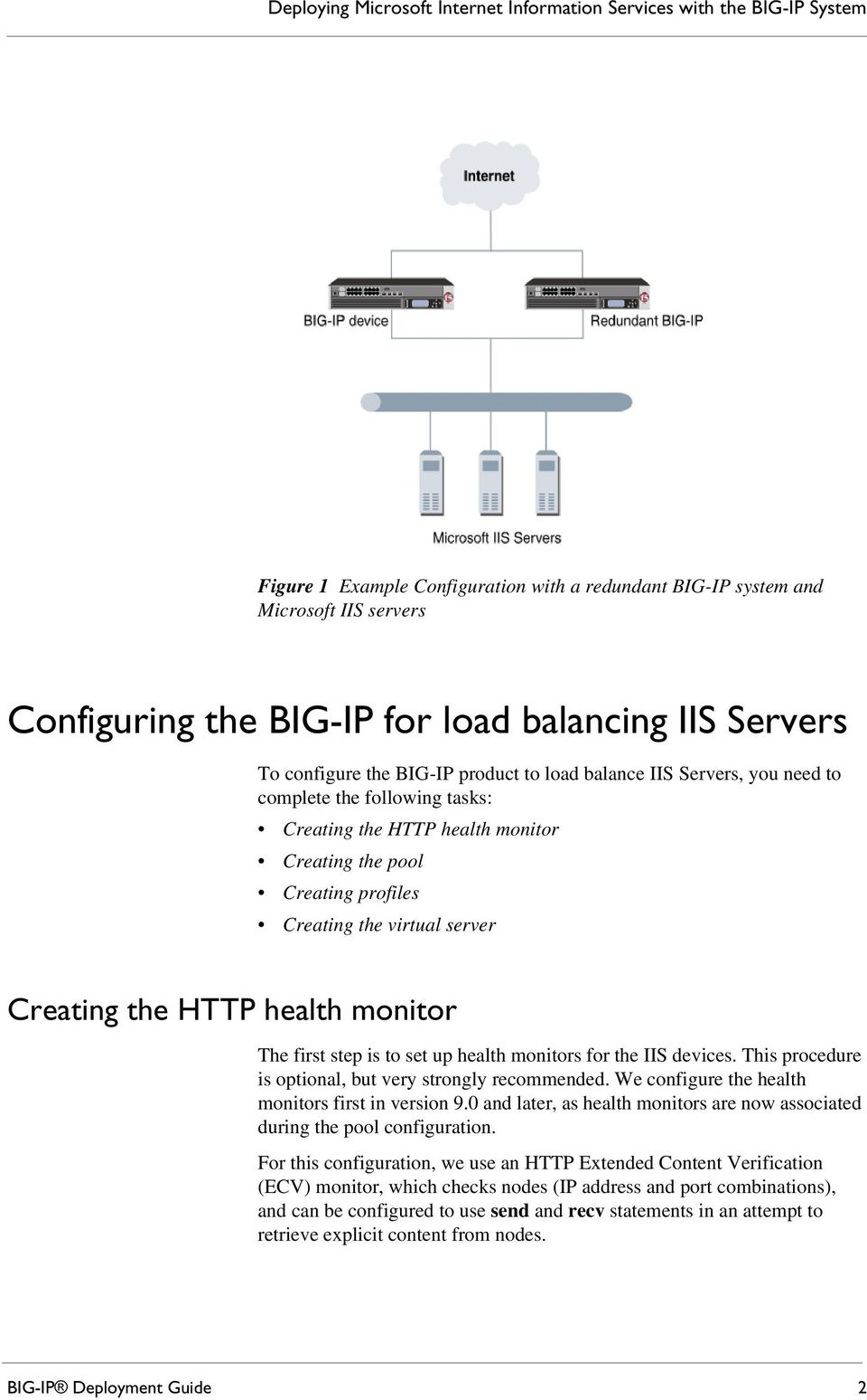 Creating the virtual server Creating the HTTP health monitor The first step is to set up health monitors for the IIS devices. This procedure is optional, but very strongly recommended.