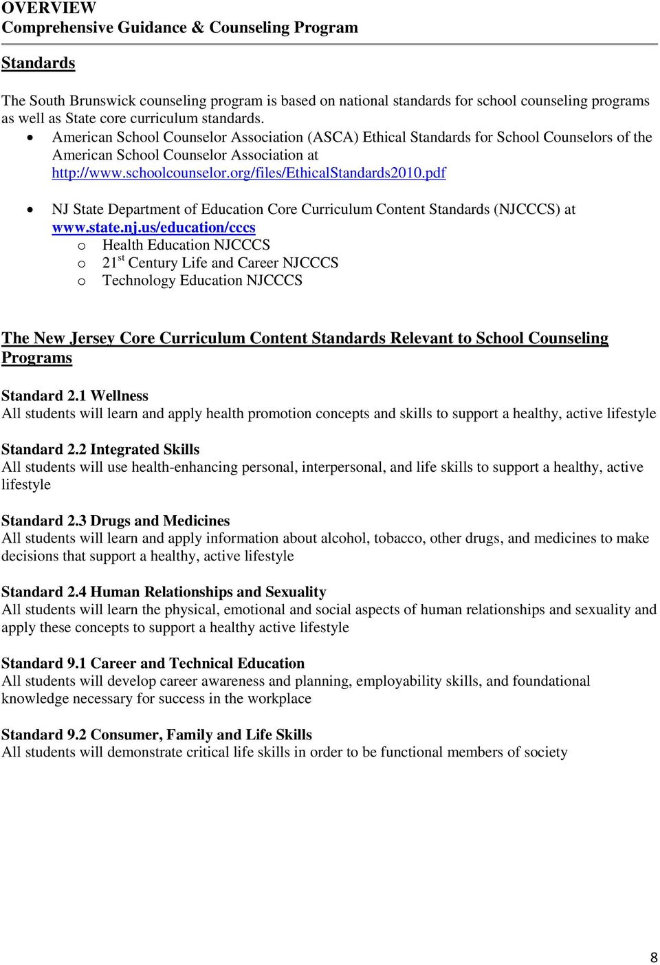 pdf NJ State Department f Educatin Cre Curriculum Cntent Standards (NJCCCS) at www.state.nj.