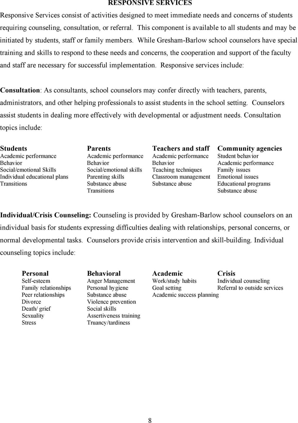 While Gresham-Barlow school counselors have special training and skills to respond to these needs and concerns, the cooperation and support of the faculty and staff are necessary for successful