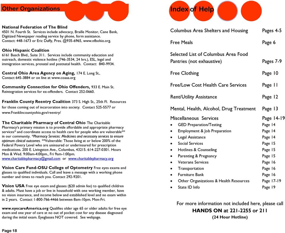 Columbus Area Social Services Resources For Referrals Pdf
