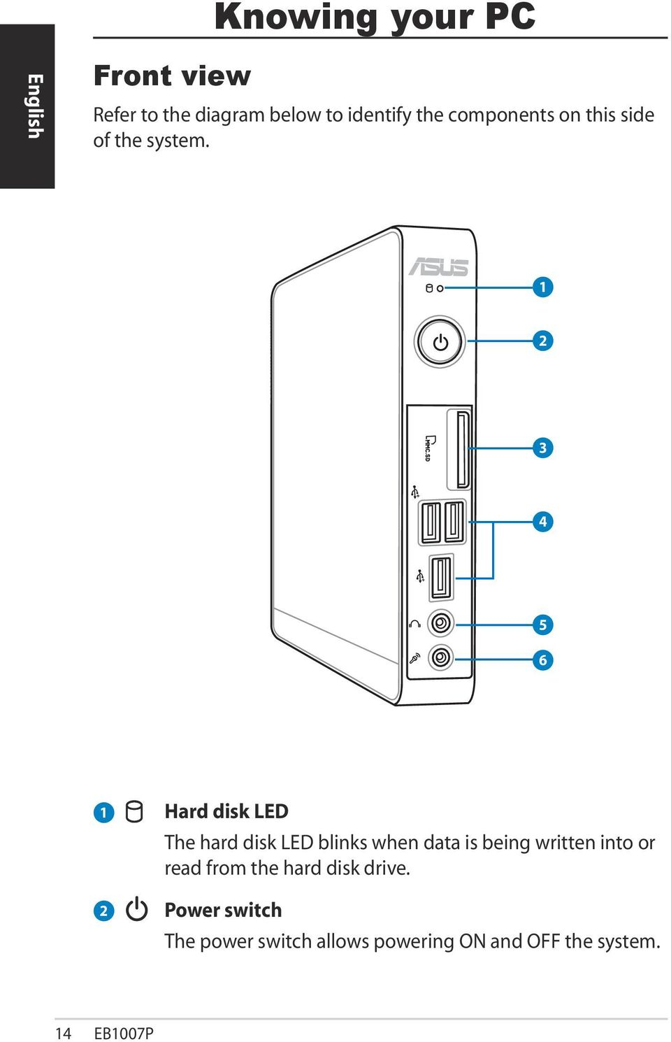 1 2 3 4 5 6 1 2 Hard disk LED The hard disk LED blinks when data is being