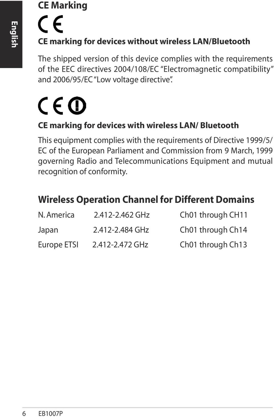 CE marking for devices with wireless LAN/ Bluetooth This equipment complies with the requirements of Directive 1999/5/ EC of the European Parliament and Commission from 9