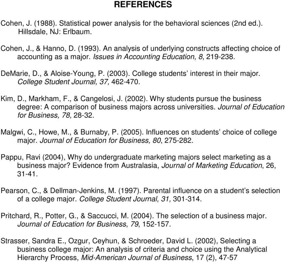 College students interest in their major. College Student Journal, 37, 462-470. Kim, D., Markham, F., & Cangelosi, J. (2002).