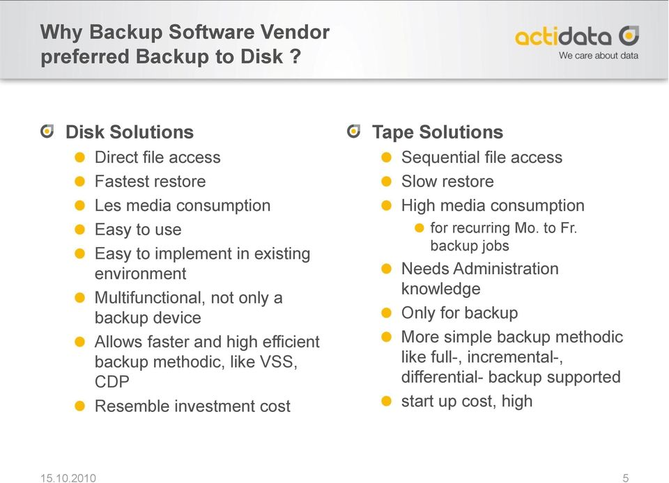 only a backup device Allows faster and high efficient backup methodic, like VSS, CDP Resemble investment cost Tape Solutions Sequential file