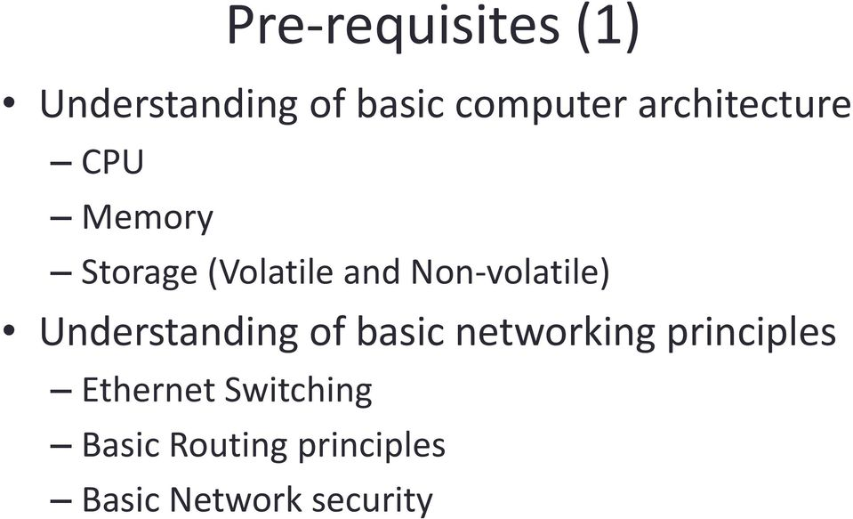 Non-volatile) Understanding of basic networking
