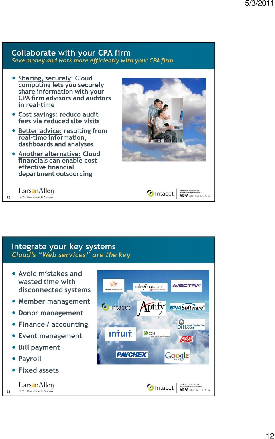 analyses Another alternative: Cloud financials can enable cost effective financial department outsourcing 23 Integrate your key systems Cloud s Web services are the key