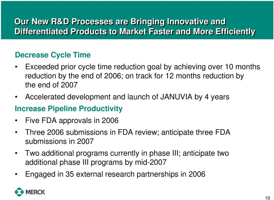 of JANUVIA by 4 years Increase Pipeline Productivity Five FDA approvals in 2006 Three 2006 submissions in FDA review; anticipate three FDA submissions in 2007