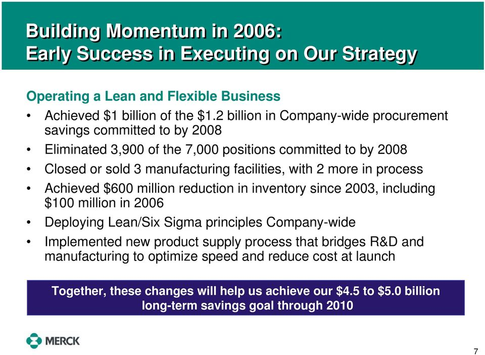with 2 more in process Achieved $600 million reduction in inventory since 2003, including $100 million in 2006 Deploying Lean/Six Sigma principles Company-wide Implemented