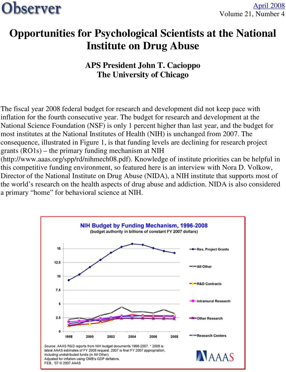 The budget for research and development at the National Science Foundation (NSF) is only 1 percent higher than last year, and the budget for most institutes at the National Institutes of Health (NIH)