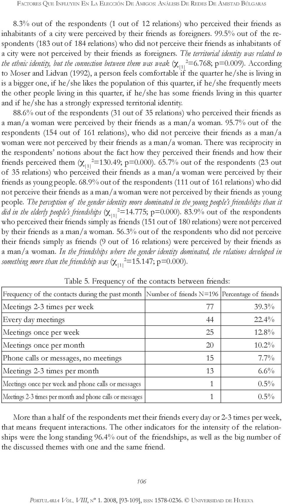 5% out of the respondents (183 out of 184 relations) who did not perceive their friends as inhabitants of a city were not perceived by their friends as foreigners.