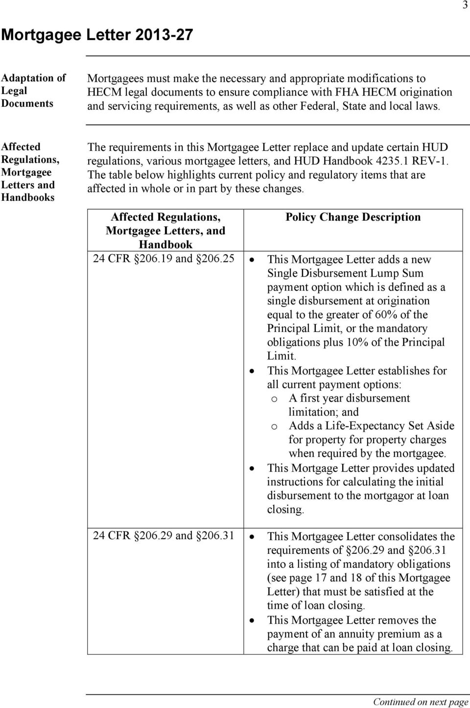 Affected Regulations, Mortgagee Letters and Handbooks The requirements in this Mortgagee Letter replace and update certain HUD regulations, various mortgagee letters, and HUD Handbook 4235.1 REV-1.