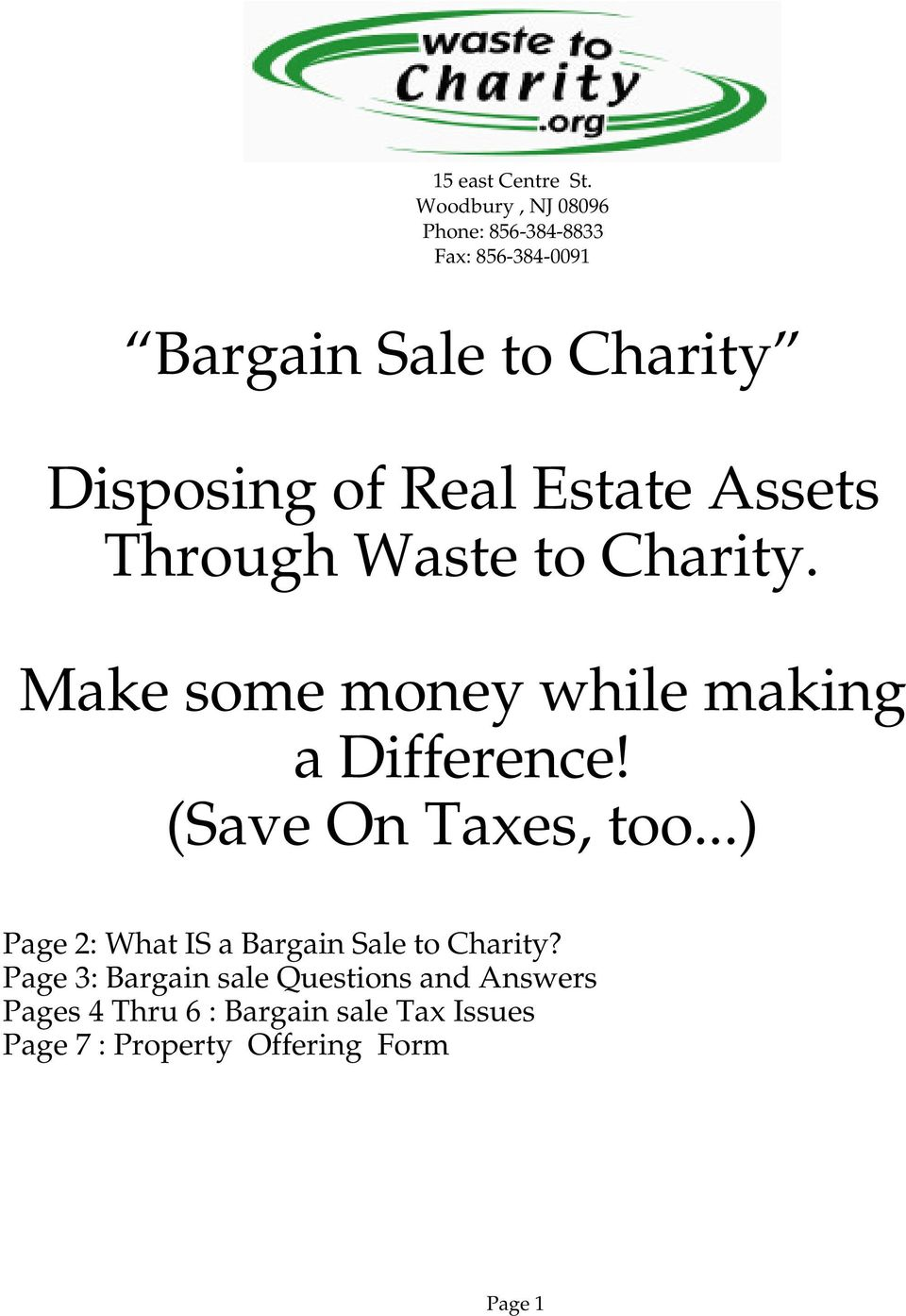 ..) Page 2: What IS a Bargain Sale to Charity?