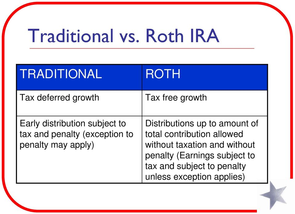 subject to tax and penalty (exception to penalty may apply) Distributions up to