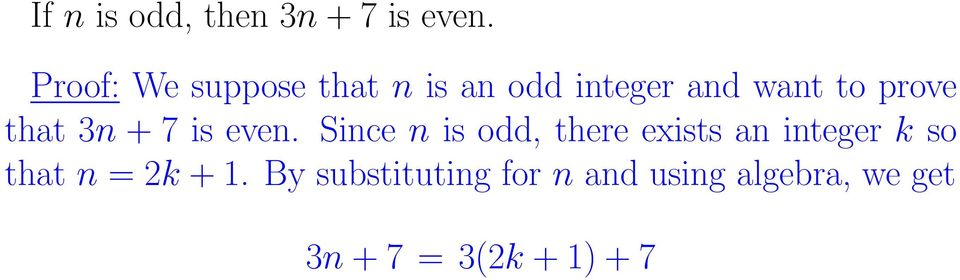 integer k so that n = 2k + 1.