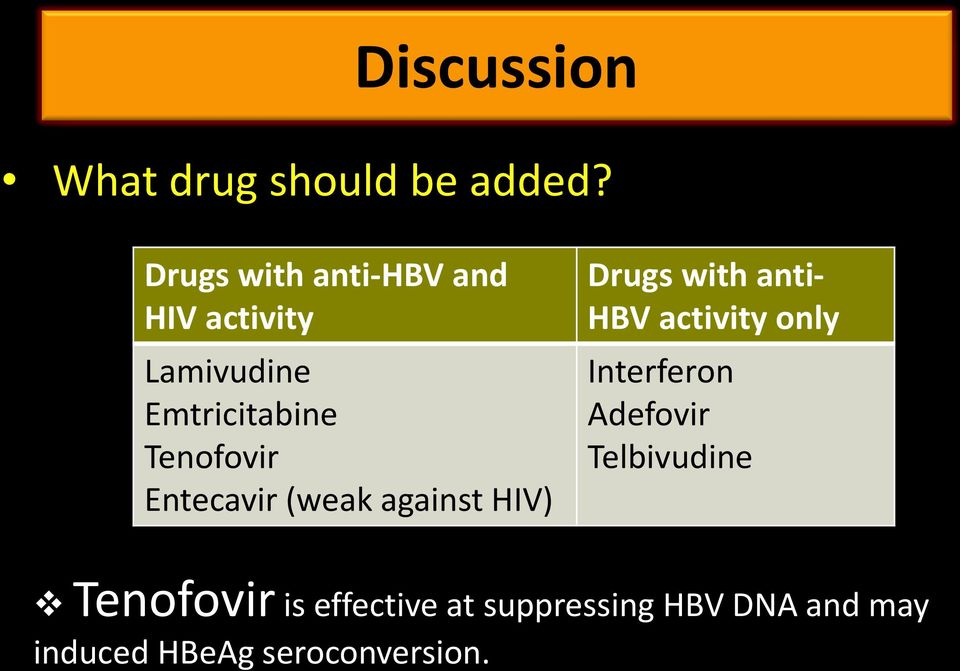 Entecavir (weak against HIV) Drugs with anti- HBV activity only