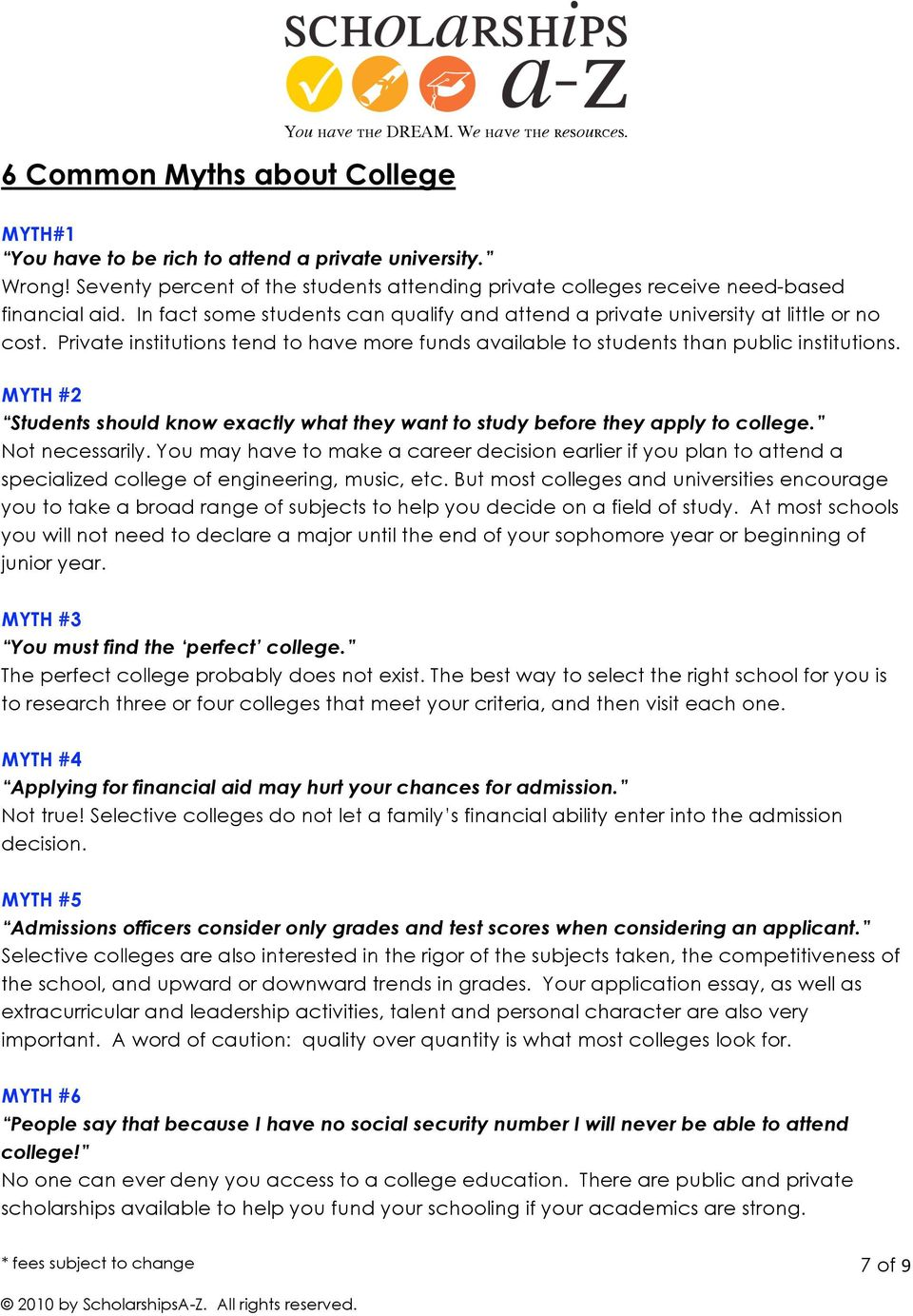 MYTH #2 Students should know exactly what they want to study before they apply to college. Not necessarily.