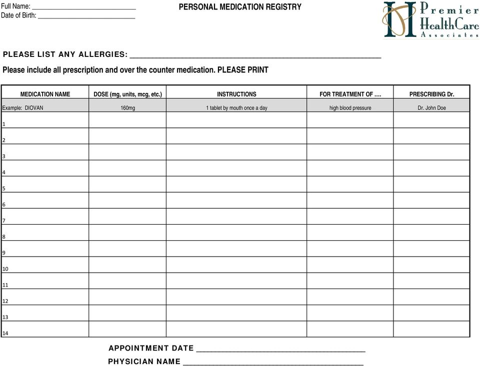 PLEASE PRINT MEDICATION NAME DOSE (mg, units, mcg, etc.) INSTRUCTIONS FOR TREATMENT OF.