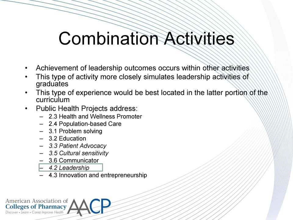 curriculum Public Health Projects address: 2.3 Health and Wellness Promoter 2.4 Population-based Care 3.1 Problem solving 3.