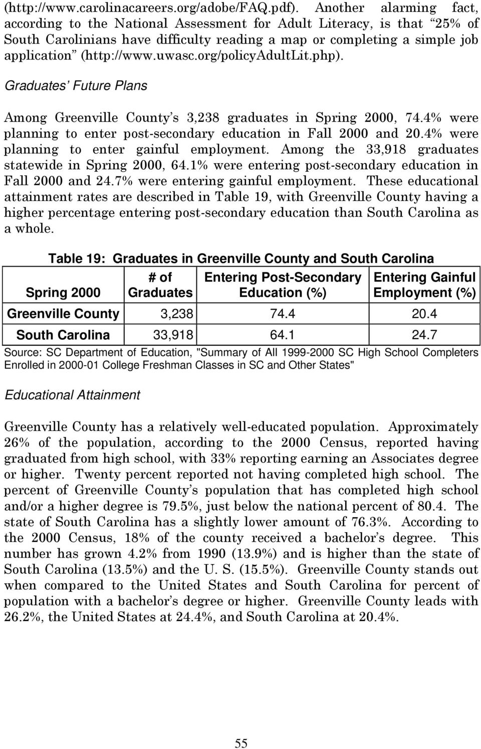 org/policyadultlit.php). Graduates Future Plans Among Greenville County s 3,238 graduates in Spring 2000, 74.4% were planning to enter post-secondary education in Fall 2000 and 20.