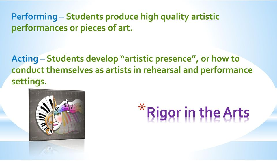 Acting Students develop artistic presence, or how to