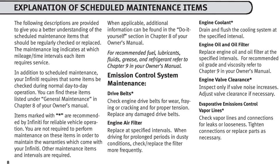 In addition to scheduled maintenance, your Infiniti requires that some items be checked during normal day-to-day operation.