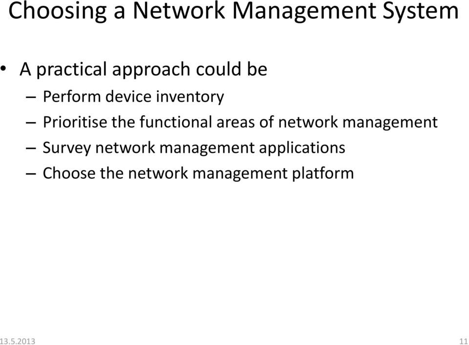 functional areas of network management Survey network