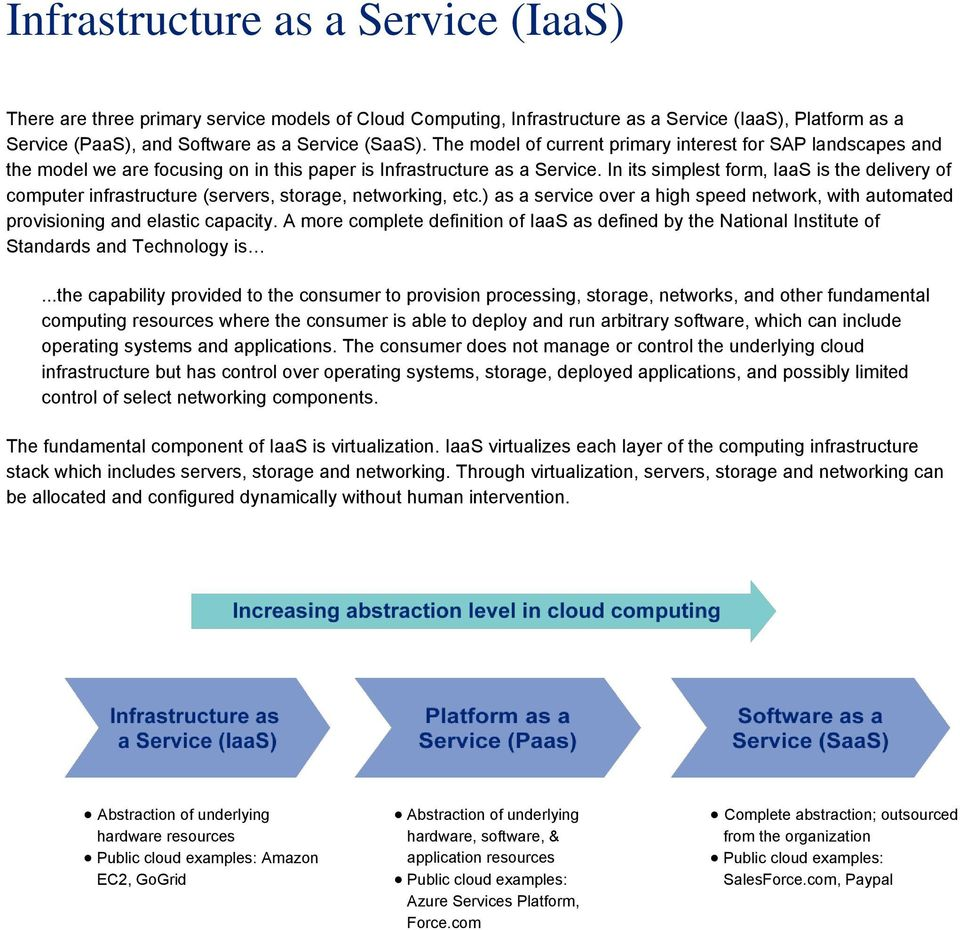 In its simplest form, IaaS is the delivery of computer infrastructure (servers, storage, networking, etc.) as a service over a high speed network, with automated provisioning and elastic capacity.