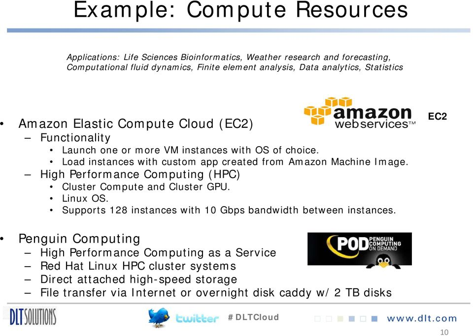 Load instances with custom app created from Amazon Machine Image. High Performance Computing (HPC) Cluster Compute and Cluster GPU. Linux OS.