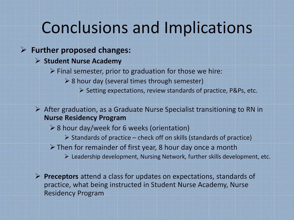 After graduation, as a Graduate Nurse Specialist transitioning to RN in Nurse Residency Program 8 hour day/week for 6 weeks (orientation) Standards of practice check off on skills