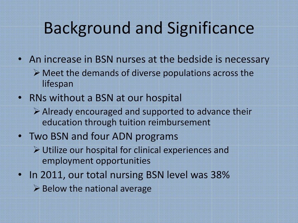 their education through tuition reimbursement Two BSN and four ADN programs Utilize our hospital for clinical