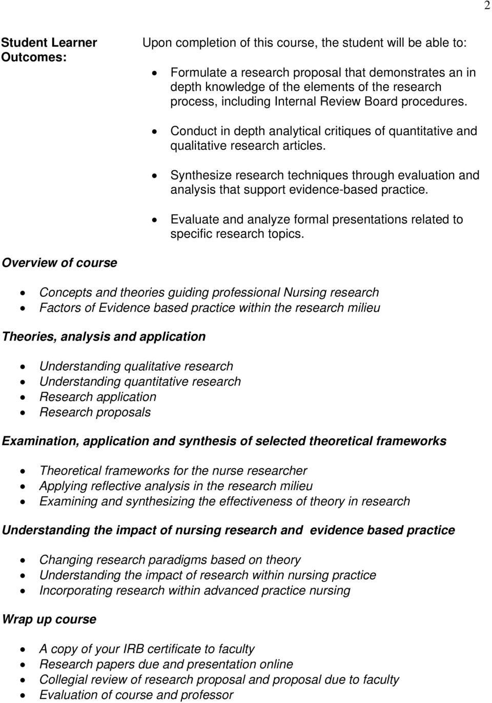 Synthesize research techniques through evaluation and analysis that support evidence-based practice. Evaluate and analyze formal presentations related to specific research topics.