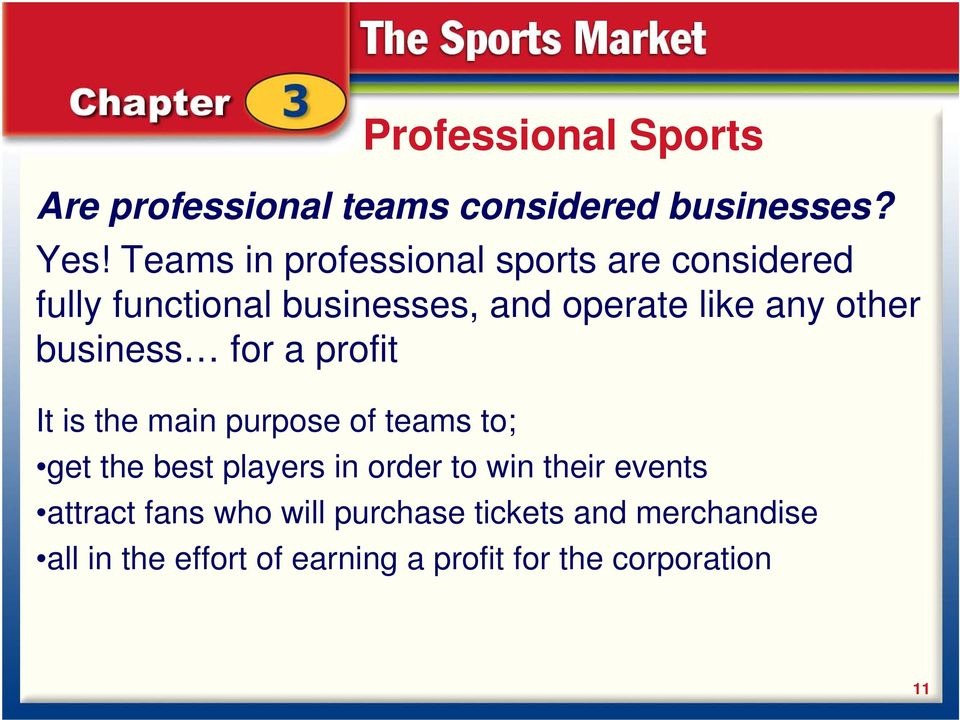 other business for a profit It is the main purpose of teams to; get the best players in order to
