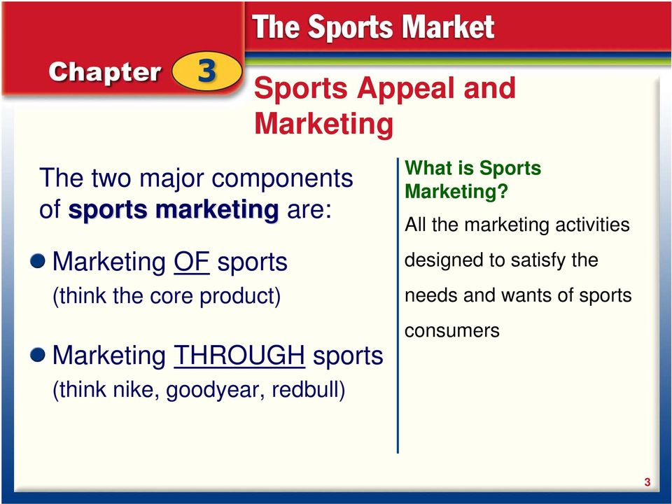 sports (think nike, goodyear, redbull) What is Sports Marketing?