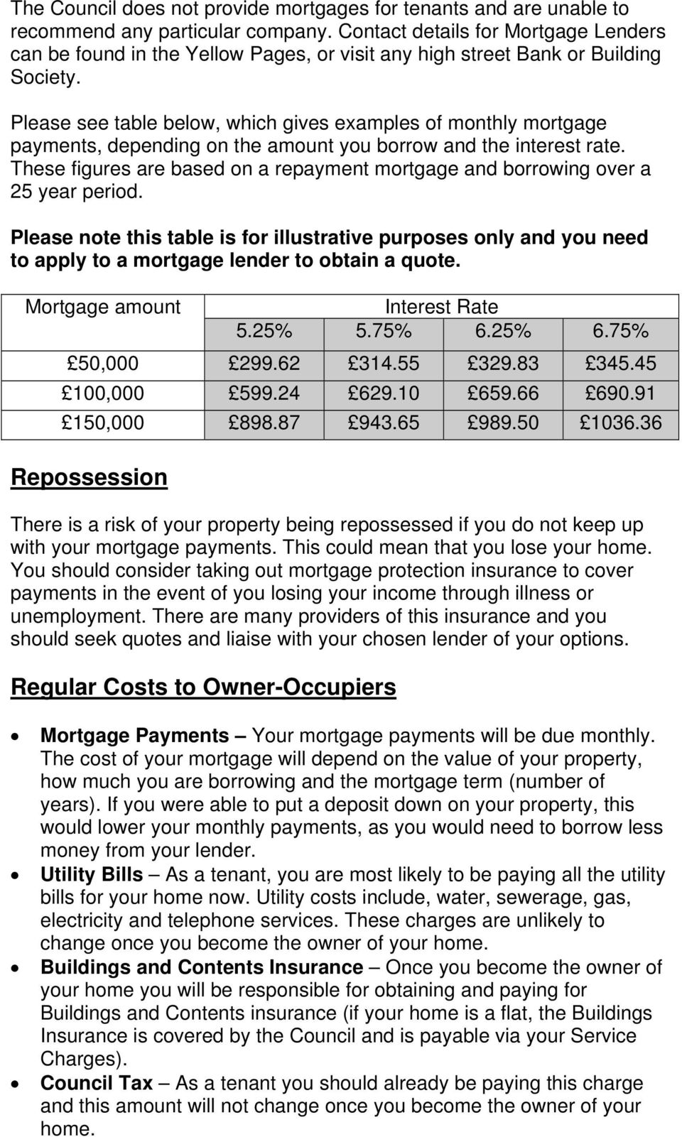 Please see table below, which gives examples of monthly mortgage payments, depending on the amount you borrow and the interest rate.