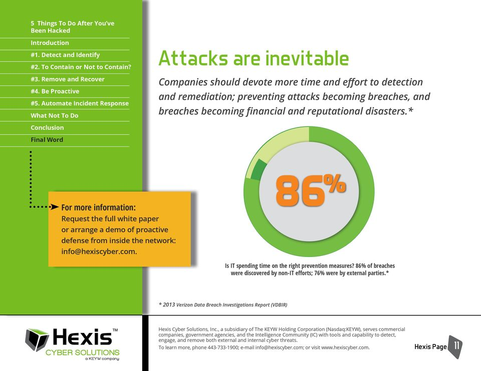 86% of breaches were discovered by non-it efforts; 76% were by external parties.* * 2013 Verizon Data Breach Investigations Report (VDBIR) Hexis Cyber Solutions, Inc.