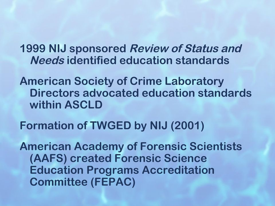 within ASCLD Formation of TWGED by NIJ (2001) American Academy of Forensic