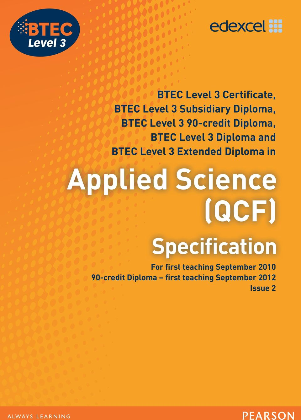 BTEC Level 3 Extended Diploma in For first teaching