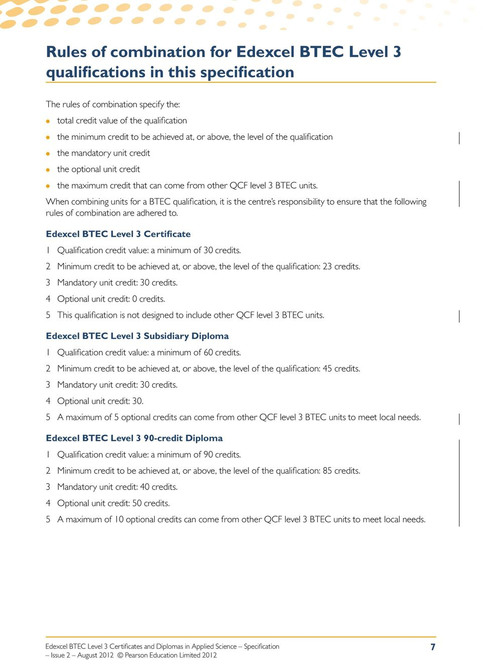 When combining units for a BTEC qualification, it is the centre s responsibility to ensure that the following rules of combination are adhered to.