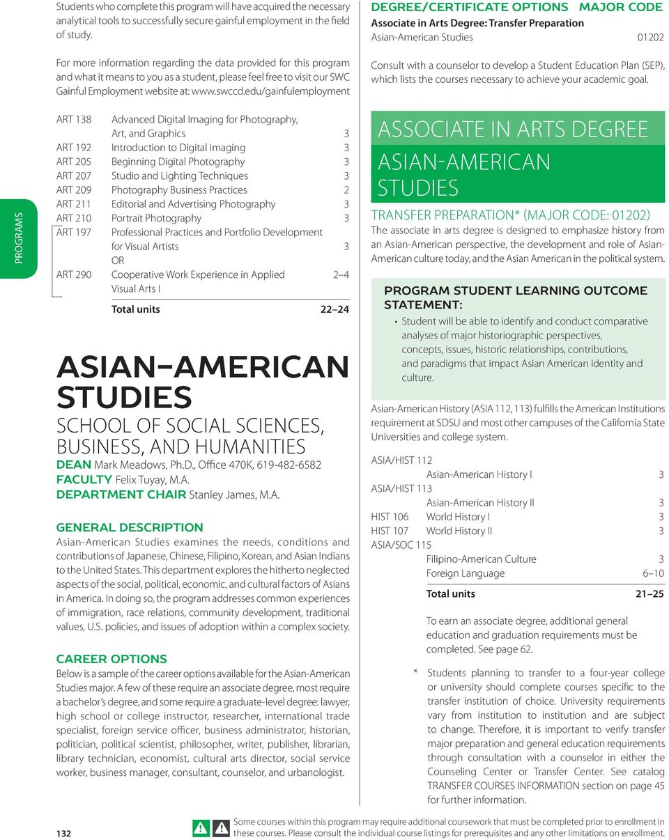 edu/gainfulemployment DEGREE/CERTIFICATE OPTIONS MAJOR CODE Associate in Arts Degree: Transfer Preparation Asian-American Studies 01202 Consult with a counselor to develop a Student Education Plan