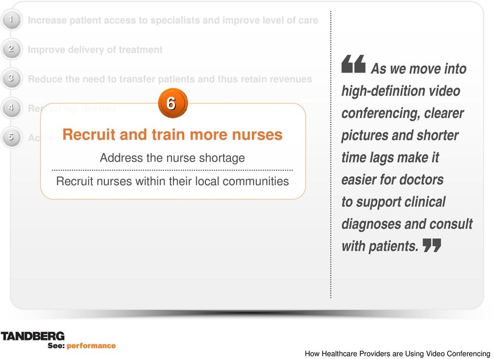 train more nurses Address the nurse shortage Recruit nurses within their local communities As we move into high-definition