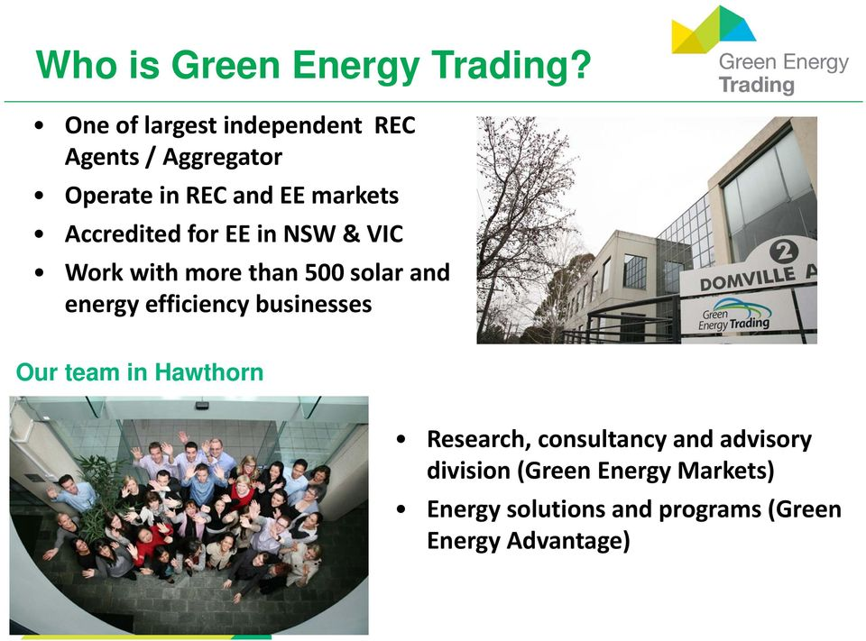 Accredited for EE in NSW & VIC Work with more than 500 solar and energy efficiency