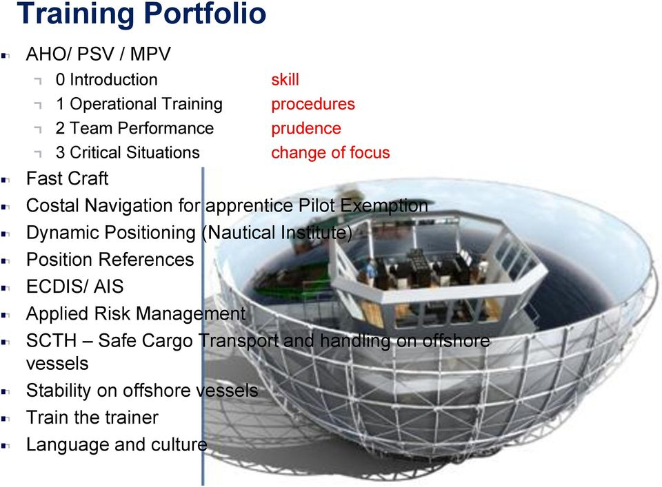 Dynamic Positioning (Nautical Institute) Position References ECDIS/ AIS Applied Risk Management SCTH Safe
